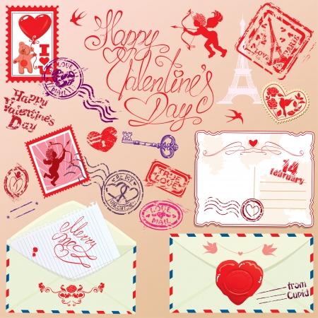 envelops: Collection of love mail design elements - stamps, envelops, postcard - Valentine`s Day or Wedding postage set. Illustration