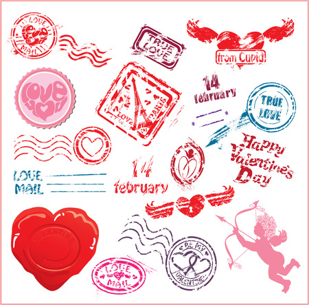 Collection of love mail design elements - postmarks- Valentine`s Day or Wedding postage set.  Vector