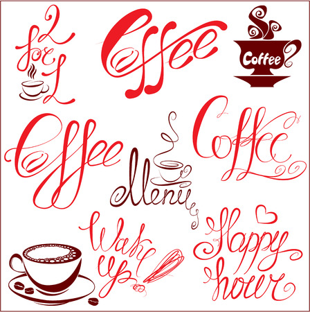 Set of coffee cups icons, stylized sketch symbols and hand drawn calligraphic text: coffee, menu, wake up, happy hour.Elements for cafe or restaurant design.  Vector