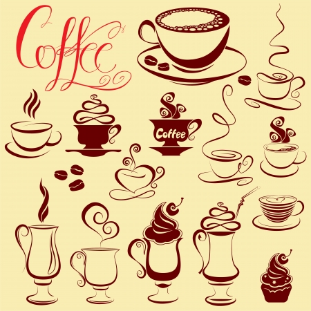Set of coffee cups icons, stylized sketch symbols Vector
