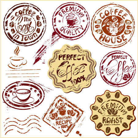 Collection of design elements - coffee cups icons, stylized sketch symbols and hand drawn calligraphic texts - postmarks - cafe or restaurant postage set.