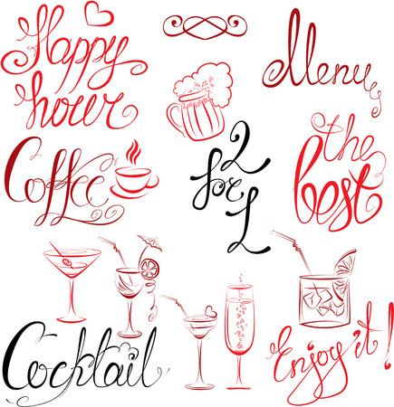 Set of hand written text: Happy Hour, Menu, Coffee, Cocktail , etc. Calligraphy elements for cafe or restaurant design in vintage style. Vector