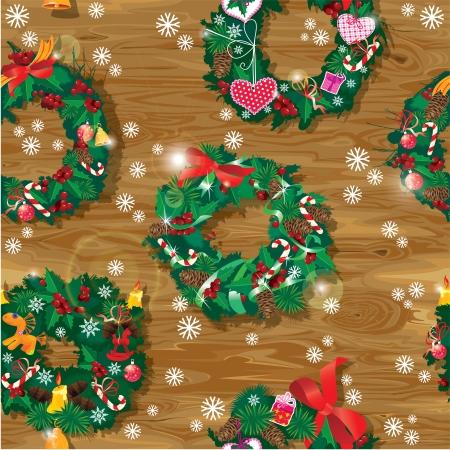 coronas de navidad: Navidad y Año Nuevo Modelo inconsútil con guirnaldas juguetes caballos adornados, bolas, arcos, cintas, dulces, caramelos y regalos en el fondo de madera.