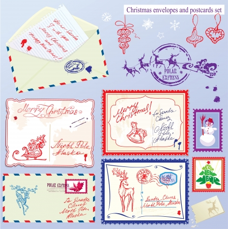 Collection of Christmas envelops, postcards, stamps and hand drawn texts and pictures - Christmas and New Year postage set. Vector
