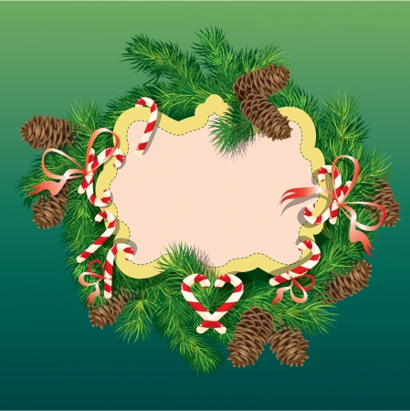 Christmas and New Year background - fir tree branches, pine cones and xmas sweets - oval frame. Vector