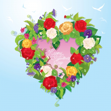 Heart shape is made of beautiful flowers - roses, pansies, bellflowers on blue sky background. Valentines Day card. Vector