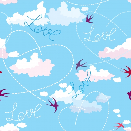 Seamless pattern with swallows, hearts and clouds on blue sky. Valentine`s Day background. Vector