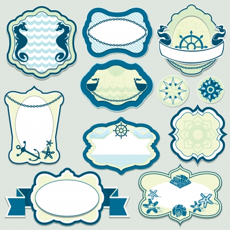 Set of design elements - marine themes frames, badges and labels in blue colors Vector