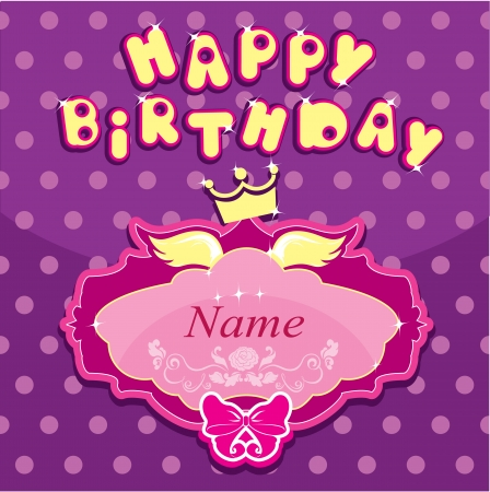 congratulations text: Happy birthday - Invitation card for girl with princess crown and frame.