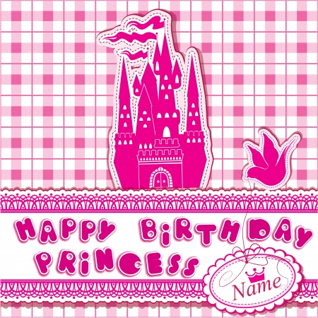Happy birthday - Invitation card for girl with princess castle and dove. Vector