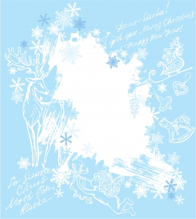 Christmas and New Year blue background with hand drawn illustrations Vector