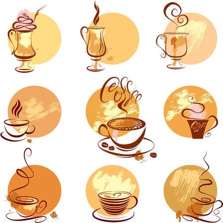 chocolate caliente: Juego de tazas de café de iconos, símbolos de boceto estilizado para restaurante o cafetería menú.