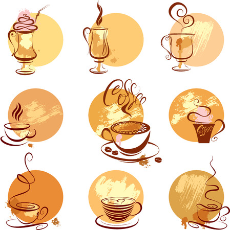 Set of coffee cups icons, stylized sketch symbols for restaurant or cafe menu. Vector