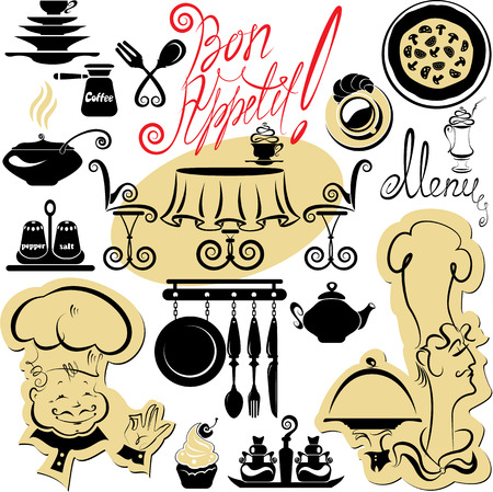 bon: Set of cooking symbols, hand drawn pictures - food and chief silhouettes and hand written text - Bon Appetit
