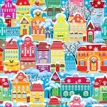 Seamless pattern with decorative colorful houses in winter time. Christmas and New Year holidays City endless background.  Vectores