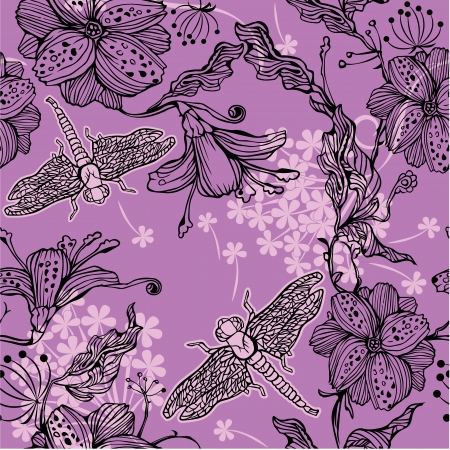Seamless Floral Pattern With hand-drawn flowers and dragonflies Vector