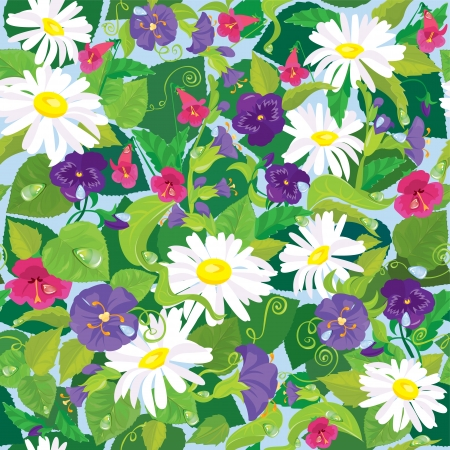 Seamless background with beautiful flowers - camomile, pansy, bellflower. Vector