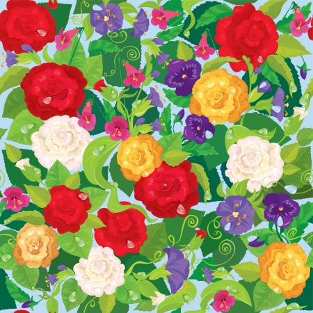 bellflower: Seamless background with beautiful flowers - rose, pansy, bellflower Illustration