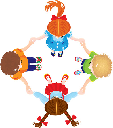 group  join: Four Kids Joining Hands to Form a Circle, isolated on white background