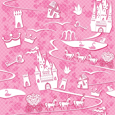 seamless pattern with fairytale land - castles, lakes, roads, mills,carriages and horses - Pink princess background Vector