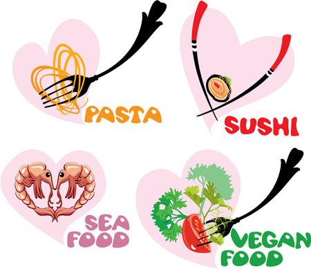 italian pasta: Conjunto de iconos de alimentos en los corazones formas: Cocina Japonesa - Sushi, Italiano - Pasta, Mar y comida vegetariana.