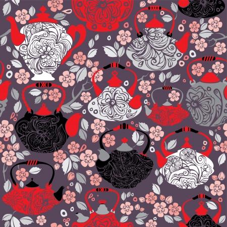 chinese tea pot: Seamless pattern with retro design china tea pots and sakura flowers - vintage background.  Illustration