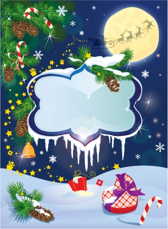 Christmas and New Year card with flying rein deers on sky background with glossy winter frames with snowdrifts and icicles, fir tree branches and presents. Vector
