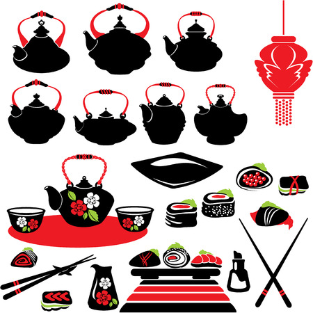 Set of asian food icons - teapot, sushi. Vector