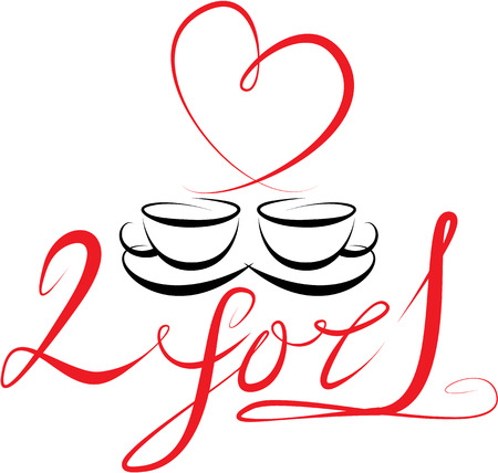 coffee hour: coffee cups icons, stylized sketch symbols and hand drawn calligraphic text: 2 for 1. Elements for cafe or restaurant design.