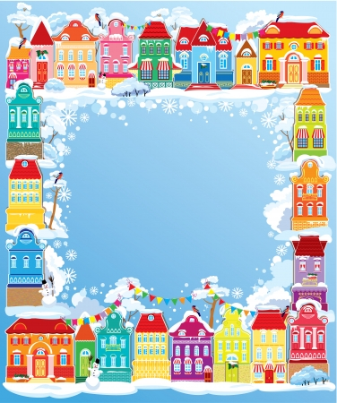 balcony view: Frame with decorative colorful houses. Christmas and New Year holidays card with small fairy town.