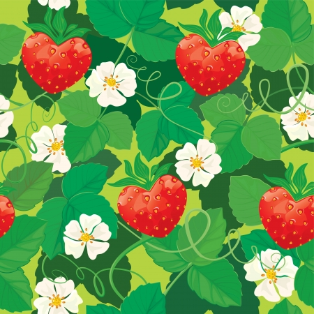 Seamless pattern. Strawberries in heart shapes with flowers and leaves. Vector