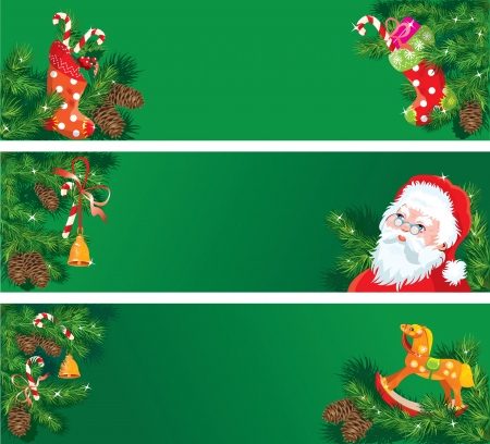Set of Christmas and New Year horizontal banners with fir tree branches, mistletoe, bell and horse toy Vector