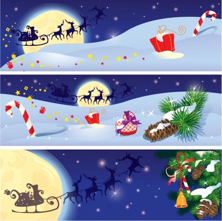 papa noel en trineo: Conjunto de Navidad y Año Nuevo banners horizontales año con renos volando en el cielo de fondo con ramas de abeto y regalos.