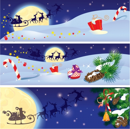 santa and sleigh: Set of Christmas and New Year horizontal banners with flying reindeers on sky background with fir tree branches and presents.  Illustration