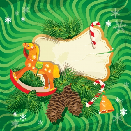 Christmas and New Year card with wooden rocking horse toy and fir tree branches on green background. Vintage frame for holiday design. Vector