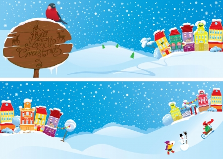 Set of horizontal banners with small fairy town on light blue sky background with decorative colorful houses in winter time.  Vector