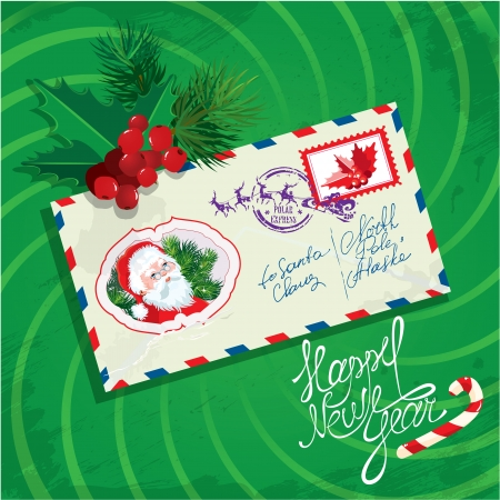 Christmas and New Year card with envelope, christmas holly and fir tree branches on green background.  Vector