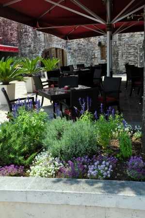 Outdoor restaurant in old town. Budva, Montenegro photo