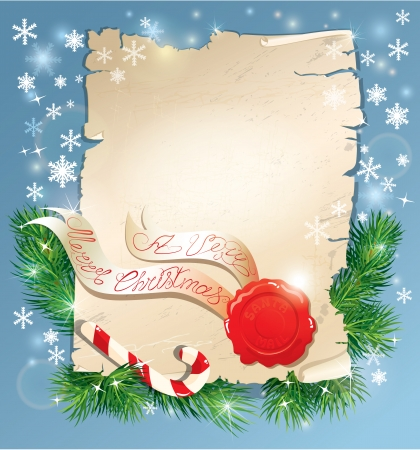 Christmas greeting magic scroll with wax seal of Santa Claus on blue snowflakes holiday background Vector