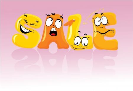 emotions faces: Wort SALE in Comic-Stil, Gesichter Cartoon Buchstaben mit Emotionen Illustration