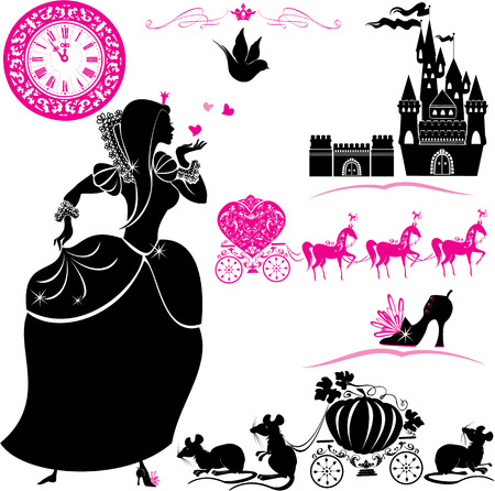 Fairytale Set - silhouetten van Cinderella, pompoen koets met muizen, kasteel en klok Stock Illustratie