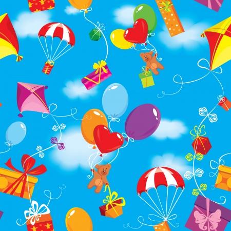 osos navideños: Patrón sin fisuras con cajas de regalo, regalos, globos, kite, paracaídas y los osos de peluche en el fondo del cielo azul con nubes.