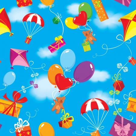 Seamless pattern with colorful gift boxes, presents, balloons, kite, parachute and teddy bears on sky blue background with clouds. Vector