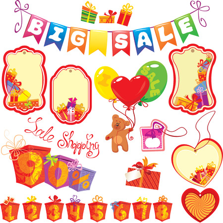 Set Big Sale elements for design - colorful gift boxes, presents, labels, teddy bear and numerals.