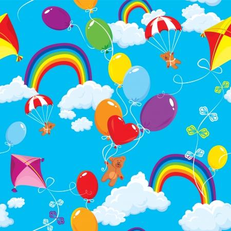 osos de peluche: Patr�n sin fisuras con el arco iris, nubes, globos de colores, kite, paraca�das y los osos de peluche en el fondo del cielo azul.