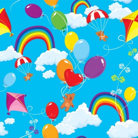 paper kite: Seamless pattern with rainbows, clouds, colorful balloons, kite, parachute and teddy bears on sky blue background. Illustration