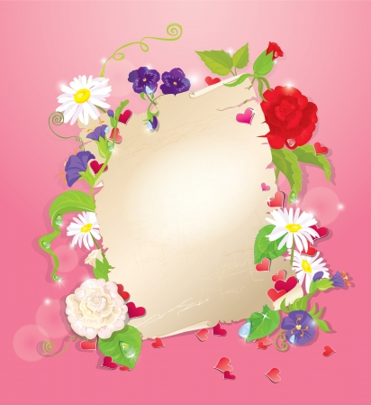 bluebell: illustration of love letter with hearts and flowers - rose,  daisy, bluebell, violet on pink background