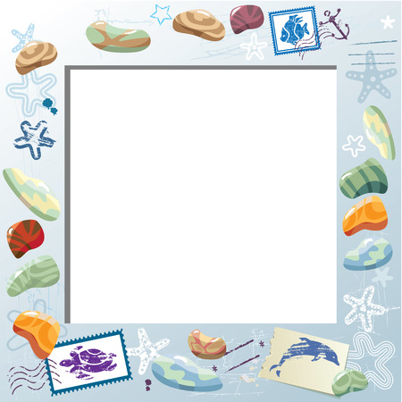 Blank Photo Frame with Colorful Sea Stones, Starfishes, Mail Stamps. Vacations Card Background Vector
