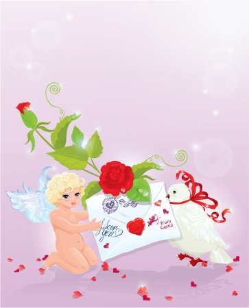 Valentine`s Day illustration with rose, angel, letter and dove. Empty space for your text. Vector