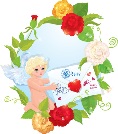 quaint: Valentine`s Day illustration with roses, angel and letter.  Illustration